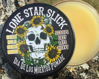All New Recipe Dia De Los Muertos Limited Edition 4oz Day of the Dead Halloween Oil Based Hair Pomade Wax Grease Lone Star Slick