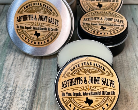 ARTHRITIS & Joint Relief Healing Menthol Essential Oil SALVE Lone Star Slick Apothecary ORGANIC Balm Hand Oils Dixie Cowboy
