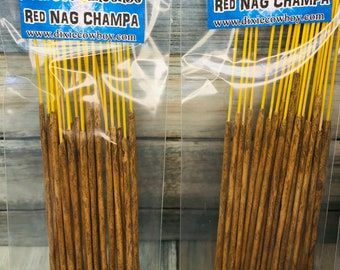 USA Made Red Sweet Nag Champa Handmade INCENSE STICKS 20 pack Hand Rolled and Scented by Moonbeams & Starlight Dixie Cowboy