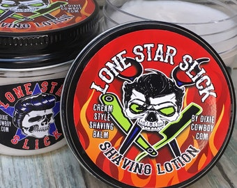 SHAVING CREAM Sage & Tea Tree - Cocoa Butter and Coconut Oil - Lotion Shave 2 Types Available Men's Women's Lone Star Slick Dixie Cowboy