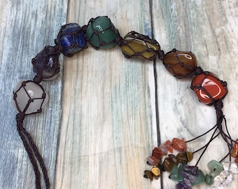Handmade 7 Chakras POLISHED STONES & Chips Window Wall Car Hanging Reiki Chakra Gems GemStone Home Decor Meditation Dixie Cowboy