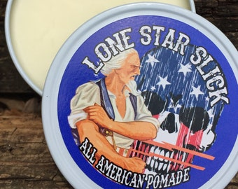 ALL AMERICAN POMADE Limited Summer Strong Medium and Light Hold Grease Natural & Organic Hair 4oz Lone Star Slick by Dixie Cowboy