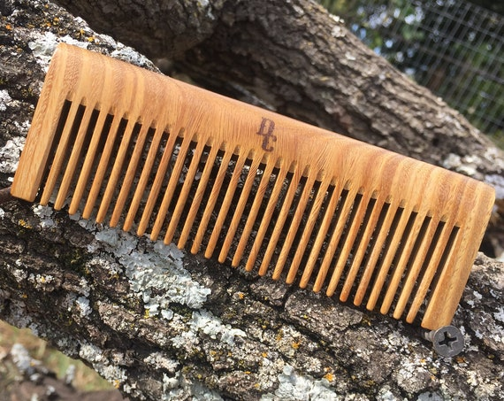 """Handmade Green SANDALWOOD 5"""" Styling Dress Perfect Beard Detangler Detangling Thick Wide Tooth Toothed Wet WOOD Hair COMB Dixie Cowboy v17"""