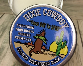 LEATHER Conditioning BALM Salve Oil Wax Treatment Dixie Cowboy 5oz Natural ORGANIC Butter Western Cowboy Boots Purses Jackets Conditioner