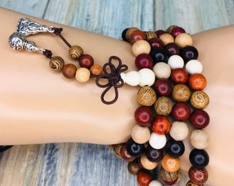 Handmade SANDALWOOD Wenge & Mixed WOOD Braclet Necklace Prayer Buddha Buddhist Bead 8mm 108 Beads Mala Elastic Men's Women's Dixie Cowboy J6