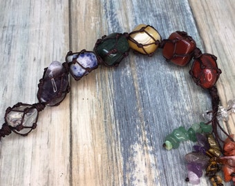Handmade 7 Chakras POLISHED STONES & Chips Window Wall Car Hanging Reiki Chakra Gems GemStone Home Decor Meditation Dixie Cowboy t25