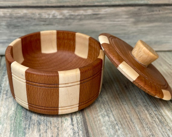 USA Made Oiled RUBBER Wood Ring Dish Small Trinket Jewelry Ring Crystal Bowl with Lid Earrings Pinch Eco Friendly Dixie Cowboy U30