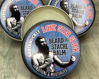 Lone Star Slick Bareknuckle BEARD & MUSTACHE Hair BALM Leave in Conditioner Growth Serum Softener 1oz Petroleum Free Mustache Dixie Cowboy