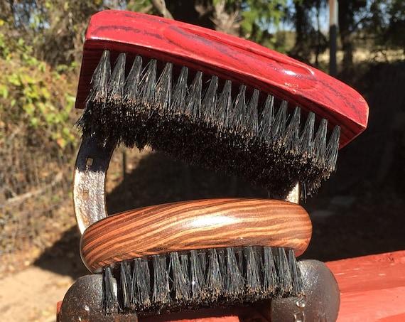 2pc BOAR Hair Brush Christmas GIFT Set Soft Medium & Firm Perfect Beard Combo Bristle Wood Palm Military USA Made Dixie Cowboy tx5
