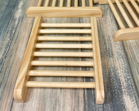 USA Made Natural PINE WOOD Soap Bar Dish Holder Strainer Drainer Dish Sponge Wooden Dixie Cowboy Born Wild Soap Co.