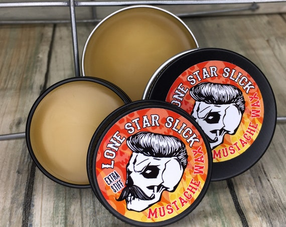 ALL NEW RECIPE - Lone Star Slick Super Hold Super Sticky Mustache Wax Firm Tacky Strong Moustache Doc Holliday Wild Bill's