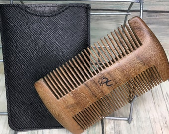 """USA Made 4"""" SANDALWOOD Comb with Case Wood BEARD Mustache Double Sided Fine & Wide Tooth Pocket Hair Dixie Cowboy a33"""
