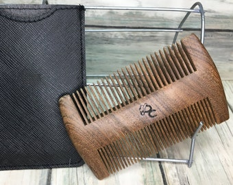 """USA Made 4"""" SANDALWOOD Comb with Case Wood BEARD Mustache Double Sided Fine & Wide Tooth Pocket Hair Dixie Cowboy F5"""