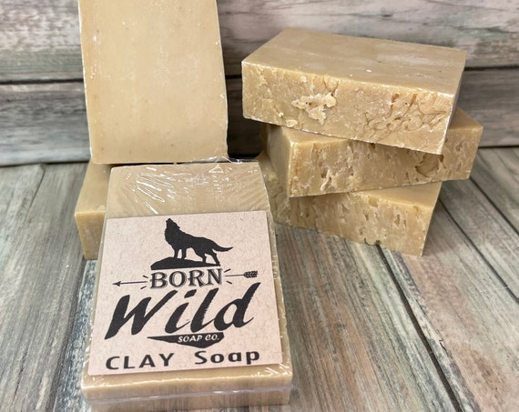 Spa Series - CLAY & OLIVE OIL Soap - Born Wild Soap Co. - Bar Herbal Essential Oils All Natural and Organic Ingredients 3.5 oz Dixie Cowboy