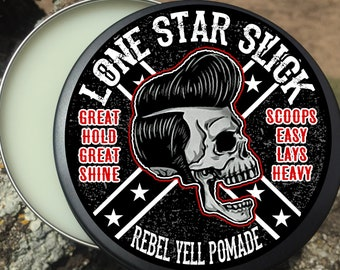 REBEL YELL POMADE 4oz Scoops Easy Lays Heavy Firm Hold Stays Shiny Great Hold Great Shine All Natural Hair Lone Star Slick Dixie Cowboy
