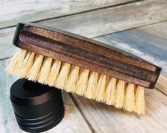 "USA Made Rare Natural Color Tan BOAR Hair Stained Beechwood Wood Beard Bristle Brush BEARDS Short Hair 4.5"" Medium Palm Dixie Cowboy K18"