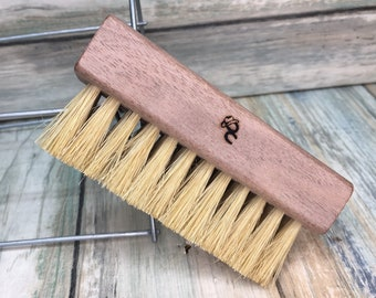 "USA Made Rare Walnut Wood Natural Color Tan BOAR Hair Wood Beard Bristle Brush BEARDS & Short Hair 4"" Medium Palm Military Dixie Cowboy w31"
