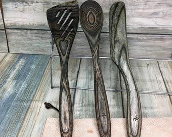 USA Made 3 Piece Serving Cooking Utensil Set Wood Spatula Spoon Knife Spreader Pakkawood Stirring Baking Kitchen Mixing Dixie Cowboy TX64