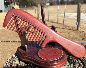 """handmade TEXAS RedWood Red & Rosewood 8"""" Handle Medium Wide 14 Row Thick Deep Toothed WOOD Hair Wet Detangling COMB Dixie Cowboy b21"""
