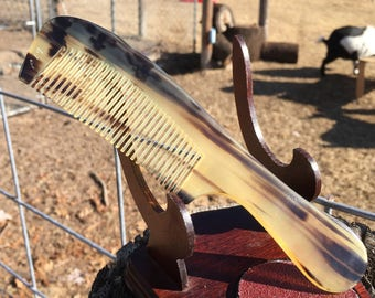 "Handmade Horn Comb Handle Striped Black Gray Amber Rare BUFFALO Ox HORN 7"" Fine Medium Tooth Pocket Hair Dixie Cowboy COMB p19"