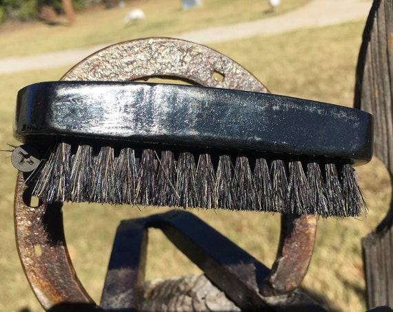"Natural BOAR HAIR Black Curved Beard Bristle Wood 4.5"" Medium to Soft Palm Military Oval Short Hair Brush USA Made Beard Dixie Cowboy tx58"