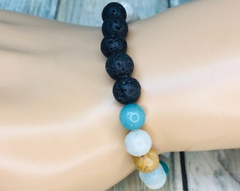 Black LAVA BEAD & Mixed Gemstone Moonstone Beads Volcanic Stone Rock Bracelet Essential Oil Diffuser Elastic Men's Women's Dixie Cowboy J10