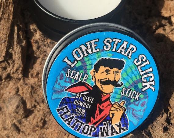Scalp Stick FLATTOP WAX 1/2 oz Tin Flat Top Spiking Premium Grade Natural & Organic Petroleum Free Lone Star Slick Dixie Cowboy