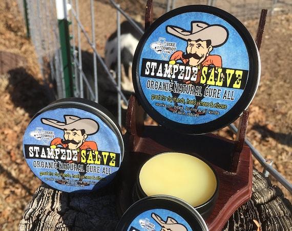 STAMPEDE SALVE by Dixie Cowboy ORGANIC Cure All Old Time Texas Recipe Repair Balm Hand Healing Dry Skin Heels Burns Men Women Essential Oil