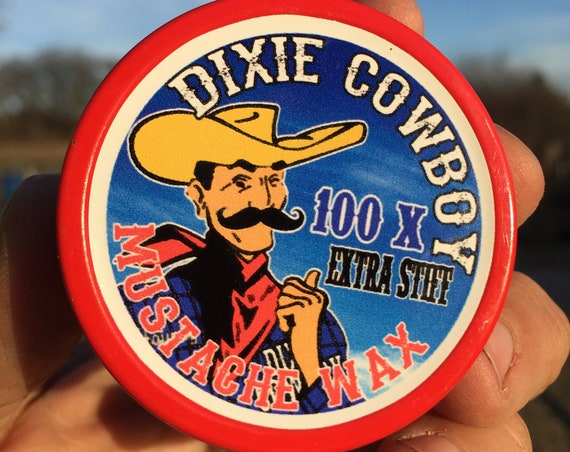 Dixie Cowboy - Premium Grade All Natural Petroleum Free and Organic Mustache Wax 100X EXTRA STIFF Strong Hold Double Size 1oz oz 1 Tin Jar
