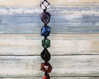Handmade 7 Chakras POLISHED STONES & Chips GIFT Box Window Wall Car Hanging Reiki Chakra GemStone Home Decor Meditation Dixie Cowboy J17