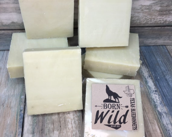 TeXas BLUEBONNETS & OLIVE OIL Soap - Born Wild Soap Co. - Bar Herbal Essential Oils All Natural and Organic Ingredients 4.5 oz Dixie Cowboy