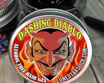 DASHING DIABLO Styling Molding Non Flaking Hardening Brown Black Gray Grey Hiding Alcohol Free Hair Gel Dixie 6oz Men's Women's Pomade