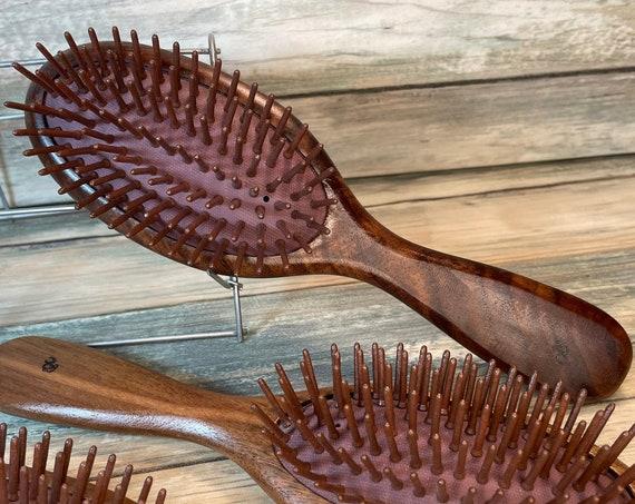 "USA Made Rare Black Walnut All WOOD Bristle Teeth Detangler Detangling Wet 9"" Rounded Cushion Hair Paddle Brush Handle Dixie Cowboy"