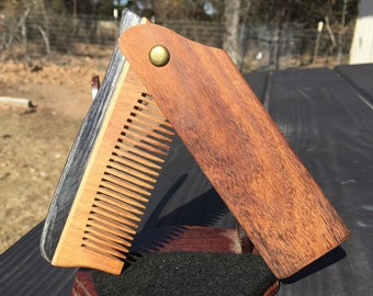 "Handmade 9"" Texas Rosewood SUPERSIZE Large PERFECT GIFT Wood Hair Comb Folding Pocket Purse Styling Beard Mustache Men's Women's v47"
