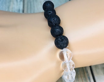Black LAVA BEAD & Clear Accent Beads Volcanic Stone Rock Bracelet Essential Oil Diffuser Elastic Men's Women's Dixie Cowboy J16
