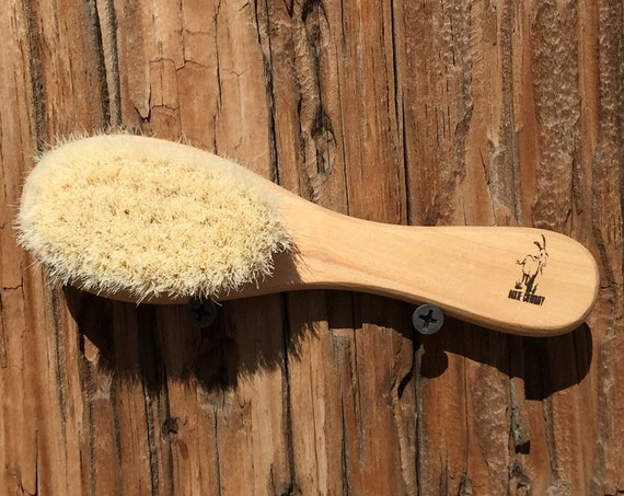 "100% Texas GOAT Brush Farm Raised Goats Hair Bristle 6"" Reclaimed Natural Wood Handle Hair Body Face Skin Dry Barber Neck Duster Baby tx38"