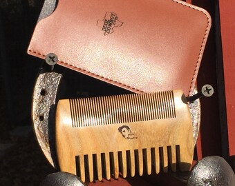 """Perfect Men's Gift 4"""" SANDALWOOD COMB with Case Wood BEARD Mustache Double Sided Fine & Wide Tooth Pocket Hair Dixie Cowboy C1"""