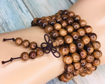 Handmade WENGE WOOD Braclet or Necklace Prayer Buddhist Prayer Beads 6mm 108 Beads Mala Elastic Men's Women's Dixie Cowboy J8