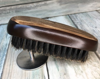 "USA Made BOAR Hair Stained and Raw Wood Top Beard Bristle Brush BEARDS & Short Hair 5"" Medium Firm Stiff Palm Military Dixie Cowboy Bb3"