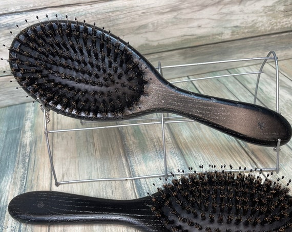 "USA Made Natural Boar Hair & Black Beechwood WOOD 10"" Cushion Pin Smoothing Detangling Wet Dry Paddle Brush Hair Handle Dixie Cowboy"