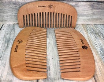 "Promo Comb Special - TEXAS Reclaimed PEACH WOOD 4.5"" Pocket Purse Perfect Beard Mustache Hair Comb Men's Women's Dixie Cowboy F8"