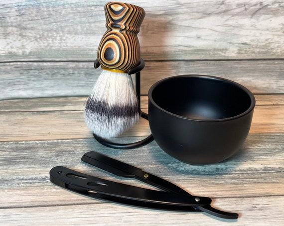3pc GIFT Set Free Shipping USA Made PakkaWood Shave Brush Steel Straight Razor & Metal Shaving Soap Bowl Dixie Cowboy