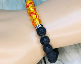 Black LAVA BEAD & Orange Amber Accent Beads Volcanic Stone Rock Bracelet Essential Oil Diffuser Elastic Men's Women's Dixie Cowboy J12