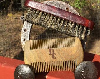 "2pc Gift Set USA Made Natural BOAR Hair Wood Beard Bristle Brush & Sandalwood Comb 4.5"" Soft to Medium Palm Military Dixie Cowboy Tx31"