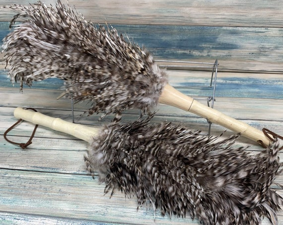 """USA Made Real CHICKEN Rooster Barred Rock Plymouth Feather & Wood Duster dusting brush 14"""" 15"""" Eco Friendly Dixie Cowboy"""