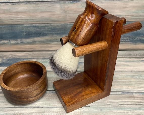 3pc Shaving GIFT Set Teak Wood USA Made Shave Brush Bo & Shaving Station Holder Men's Stand Dixie Cowboy