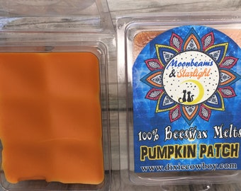 100% Pure BEESWAX Wax Melts - PUMPKIN PATCH Pie Spice Autumn Organic Moonbeams & Starlight Candle Tart No Parrafin or Chemicals Dixie Cowboy
