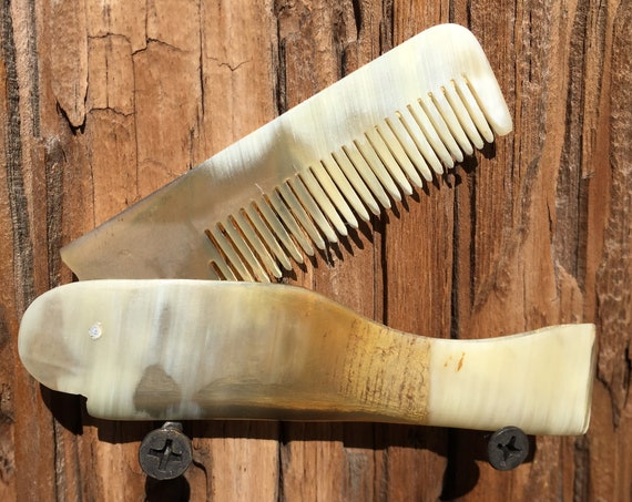 Premium FOLDING Real BUFFALO Yak Ox HORN Perfect Hair Beard Mustache Folding Pocket Dixie Cowboy Comb Anti Static Electricity Stress d85