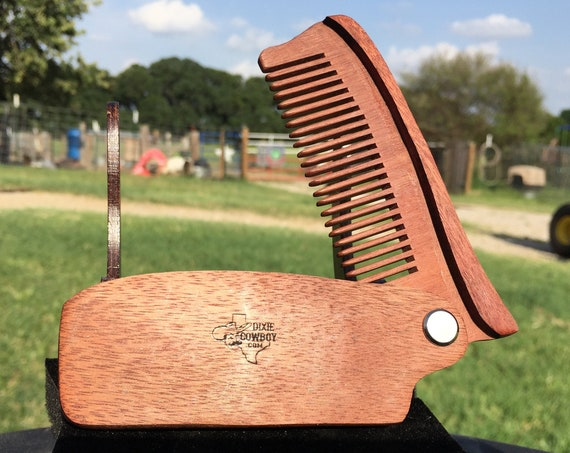 "Handmade 7"" Texas ROSEWOOD Rose FOLDING COMB Perfect Gift Wood Hair Comb Folding Pocket Purse Styling Beard Mustache Men's Women's V37"
