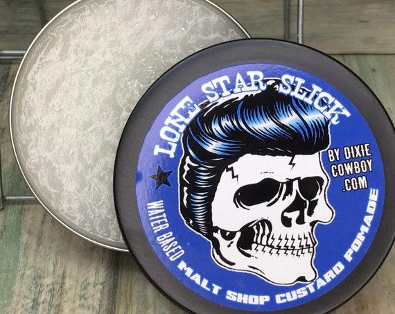 MALT SHOP Custard Water Based Pomade Cream Firm Stiff Hold 4oz Glycol Free Conditioning Wax Gel Grease Lone Star Slick Dixie Cowboy